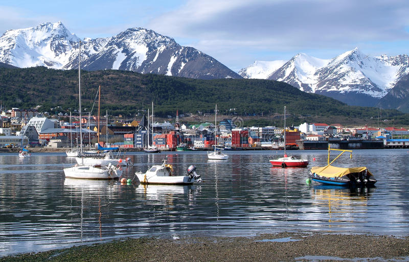 Download The port of Ushuaia stock image. Image of mountain, ship - 22737923