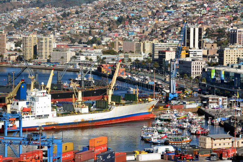 Port of Valparaiso, Chile. Prat view of port and dock in Valparaiso, Chile royalty free stock photography