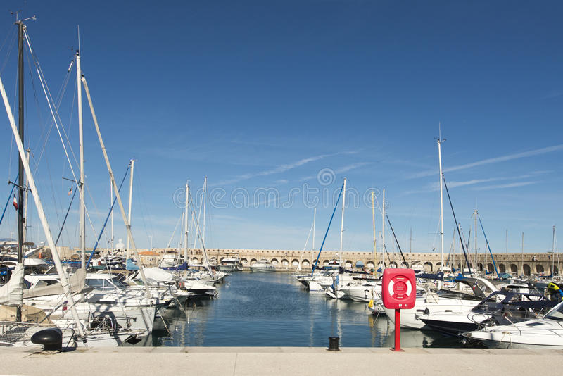 Port Vauban, Antibes, France. Port Vauban is a French yachting harbor located in Antibes on the French Riviera royalty free stock photo