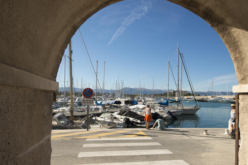 Port Vauban, Antibes, France. Port Vauban is a French yachting harbor located in Antibes on the French Riviera royalty free stock image