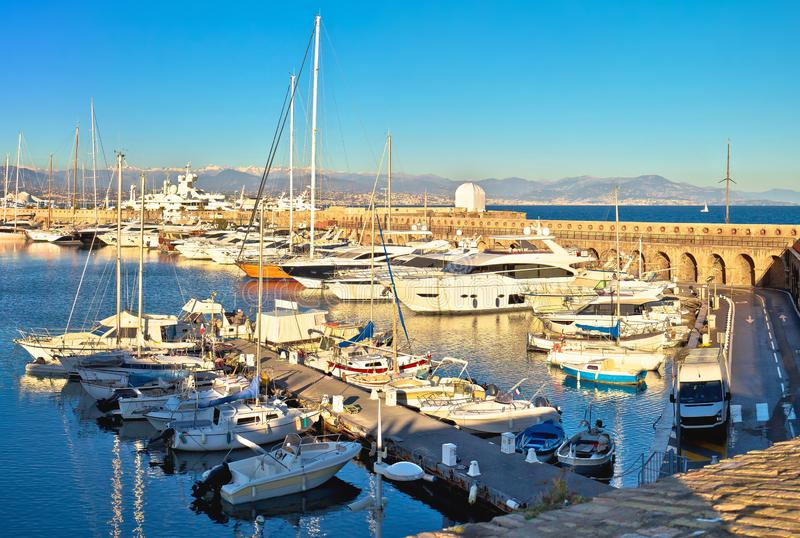 Port Vauban harbor in Antibes panoramic view. Southern France royalty free stock photos