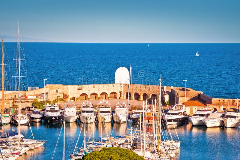 Port Vauban harbor in Antibes view. Mediterranean sea in Southern France stock photo