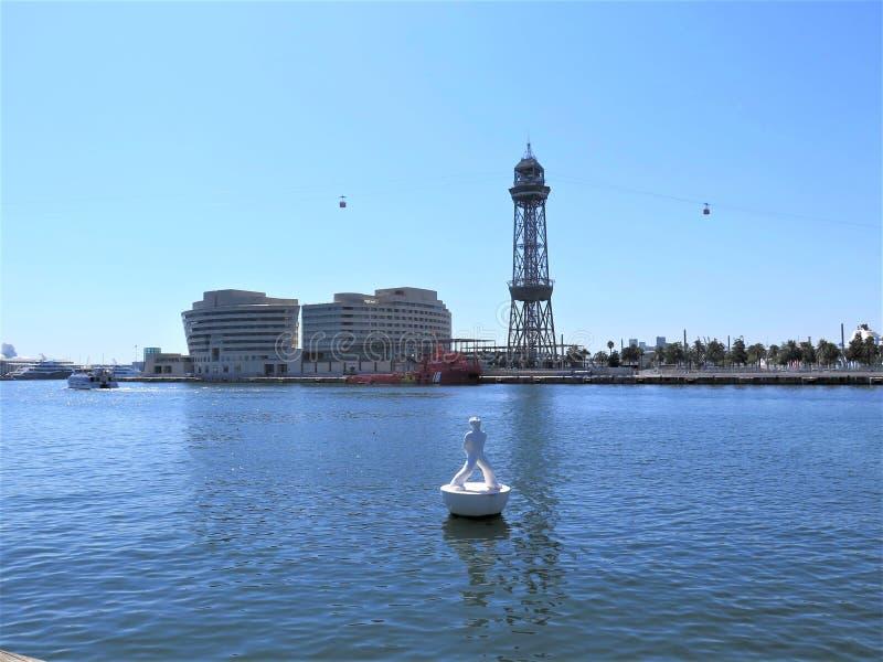 Port Vell, Βαρκελώνη Τοπίο, ακτογραμμή στοκ φωτογραφία