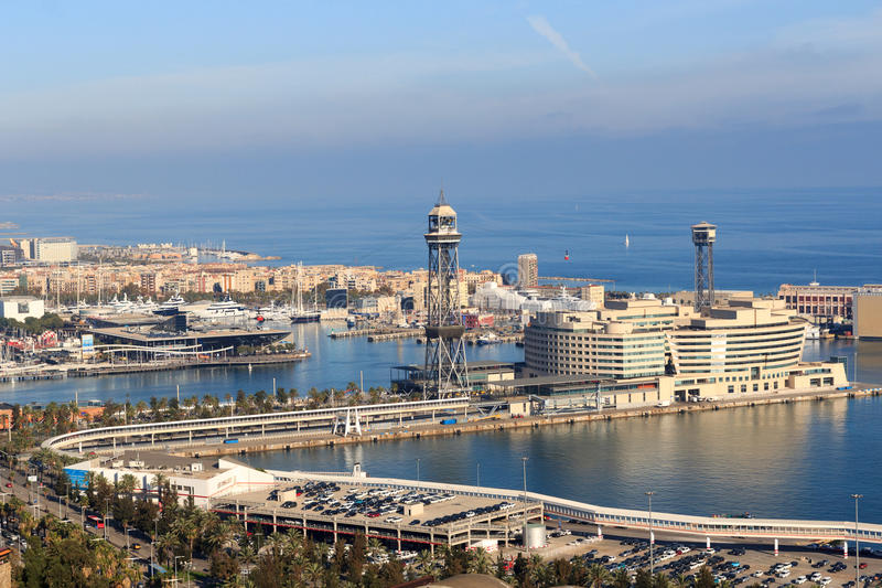 Port Vell Aerial Tramway in Barcelona, Spain stock photography