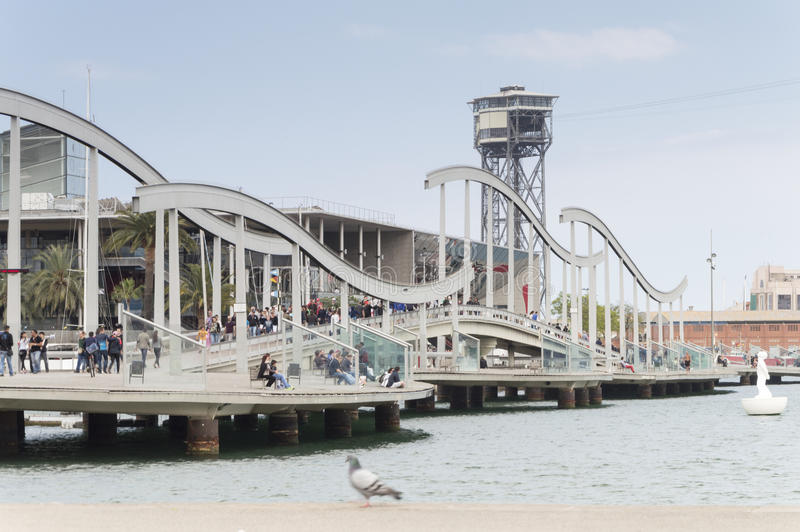 Port Vell in Barcelona. Tourists in Port Vell in Barcelona, Spain, Europe royalty free stock image