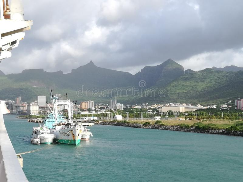 Harbor port view of Port-Louis, Mauritius island stock photography