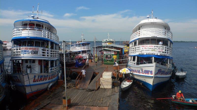 Port w amazonki rzece fotografia stock