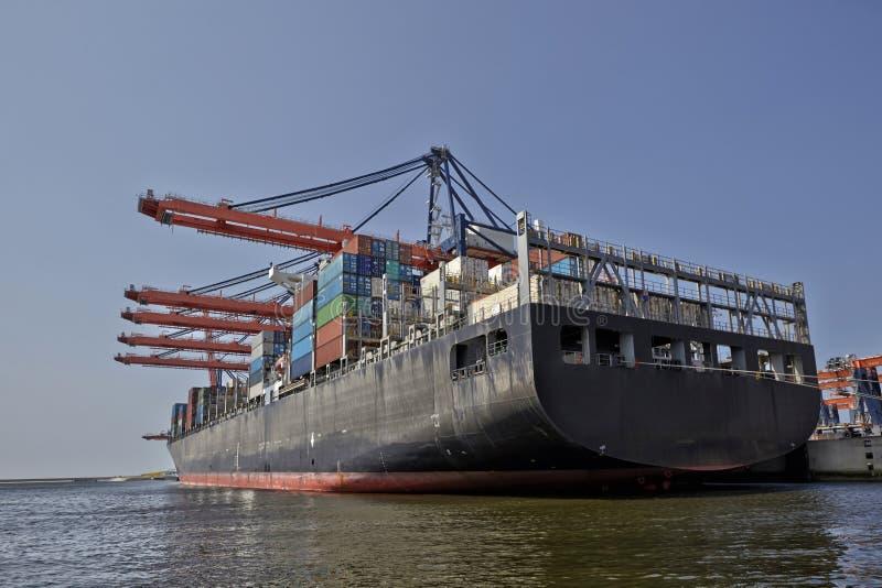 Port w Rotterdamie Holandia Żurawie wielkoportowe załadowujące kontenerowce w porcie Rotterdam obrazy stock