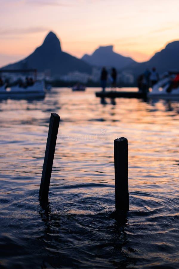 Port w zmierzchu Rio De Janeiro zdjęcia royalty free