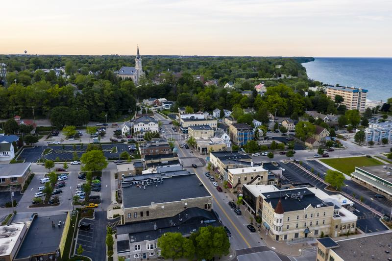 Beautiful Port Washington, Wisconsin. Port Washington, Wisconsin. The city was named for its natural port, and in honor of first President George Washington stock photo