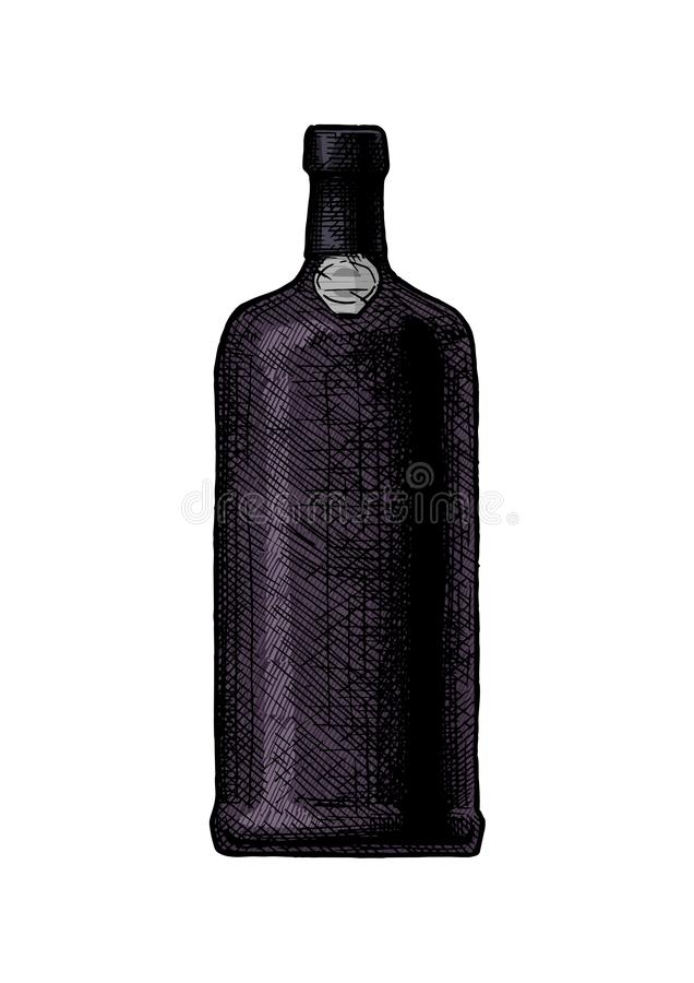 Port wine bottle. Vector hand drawn illustration of port wine bottle, type of Portuguese dessert wine in vintage engraved style. Isolated on white background vector illustration