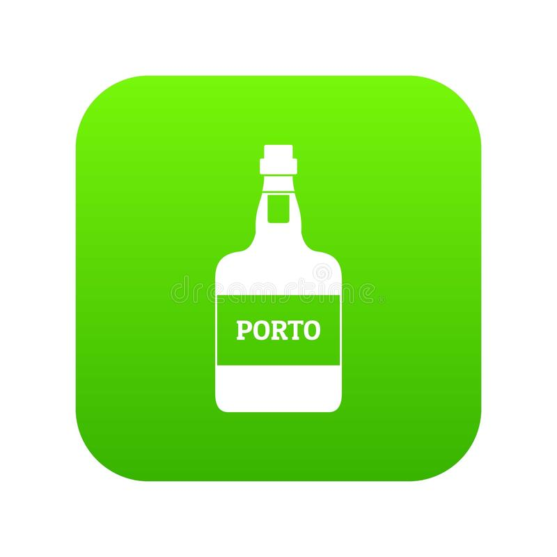 Port wine icon green vector. Isolated on white background royalty free illustration