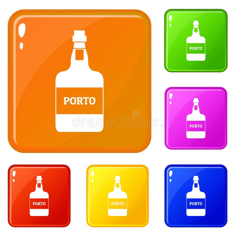 Port wine icons set vector color. Port wine icons set collection vector 6 color isolated on white background vector illustration