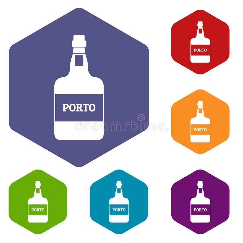 Port wine icons vector hexahedron. Port wine icons vector colorful hexahedron set collection isolated on white vector illustration
