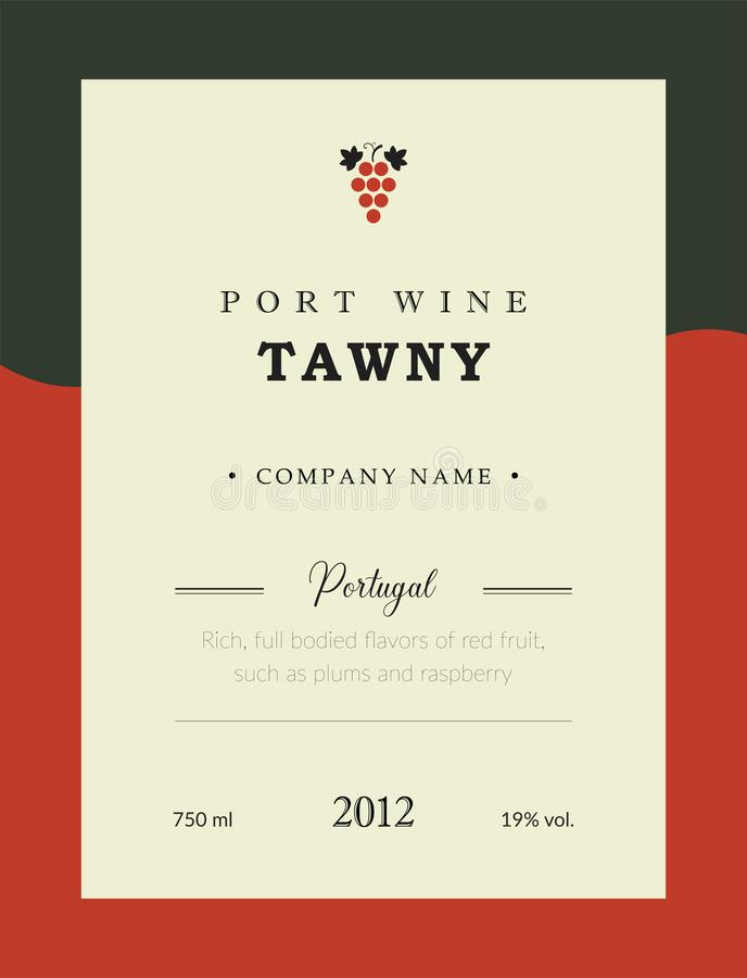 Port wine label. Vector premium template set. Clean and modern design. Towny and Red wine. National Portuguese Wine. Port wine label. Vector premium template vector illustration