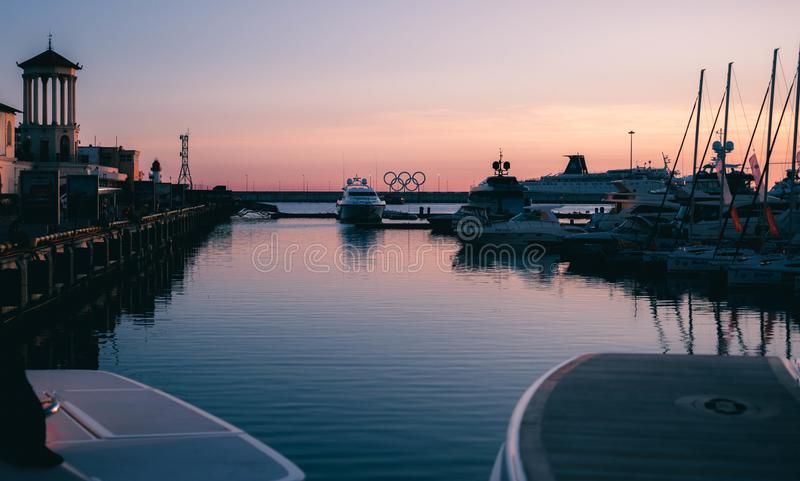 Port With Yacht royalty free stock image
