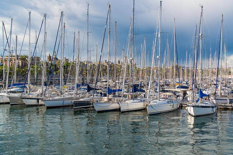 Port with yachts in Barcelona, Spain stock photography
