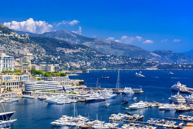 Port with yachts in La Condamine, Monte-Carlo, Monaco, Cote d `Azur, French Riviera royalty free stock images
