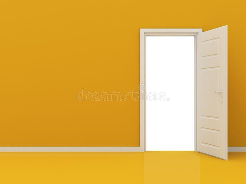Porta aberta branca na parede alaranjada foto de stock royalty free