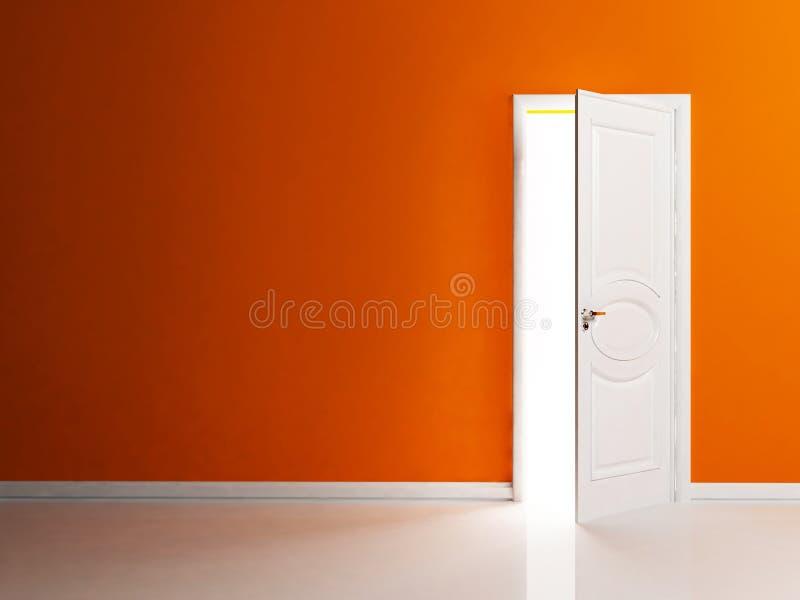 Porta aberta branco na sala vazia ilustração stock