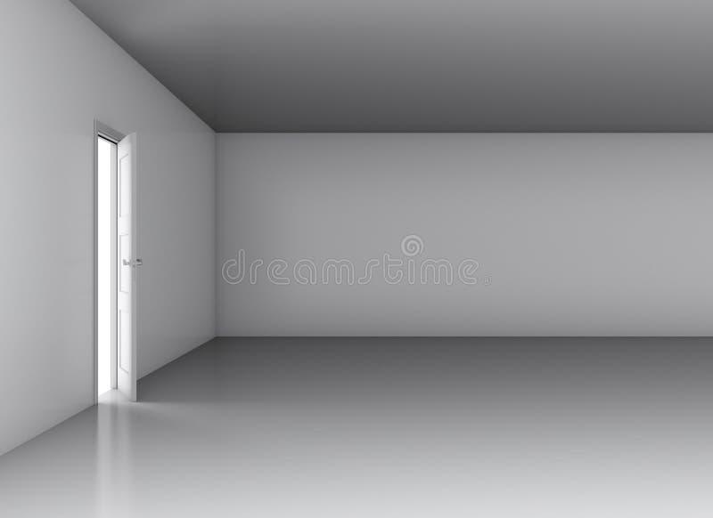 Porta aberta branco na sala vazia ilustração do vetor