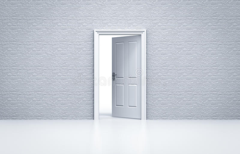 Porta aberta com a parede de tijolo branca ilustração do vetor