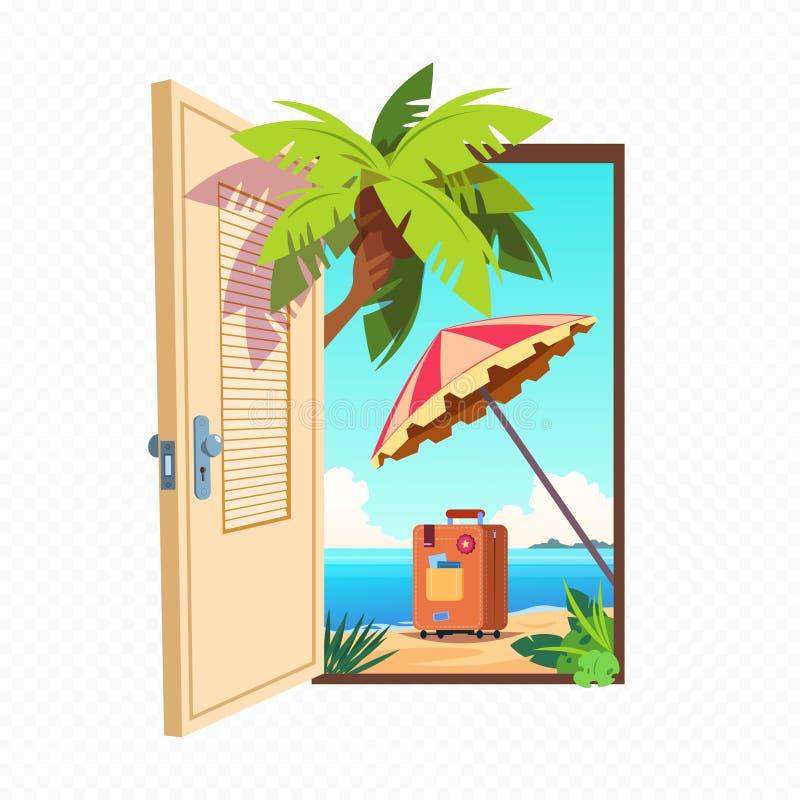 Porta aberta da mola isolada no fundo transparente Abra a entrada com a paisagem do verão exterior ilustração do vetor