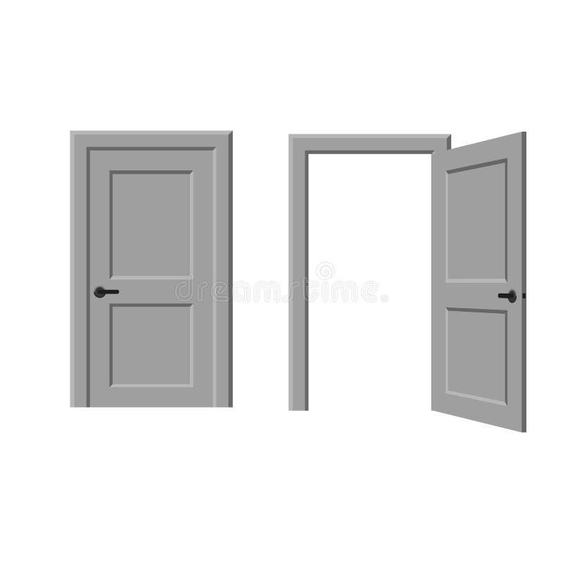 Porta aberta e fechado ilustração royalty free