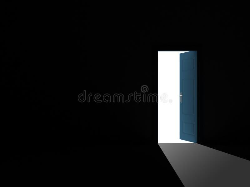 Porta aberta no quarto escuro ilustração royalty free