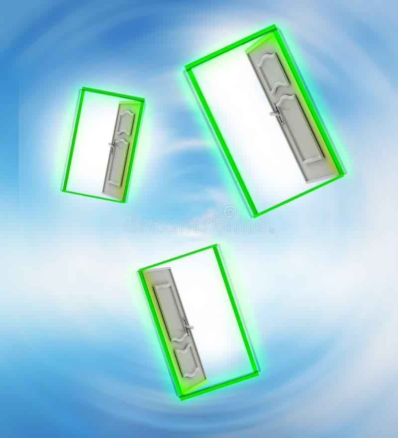 Porta aberta três no vortex do vento do espaço do céu ilustração do vetor