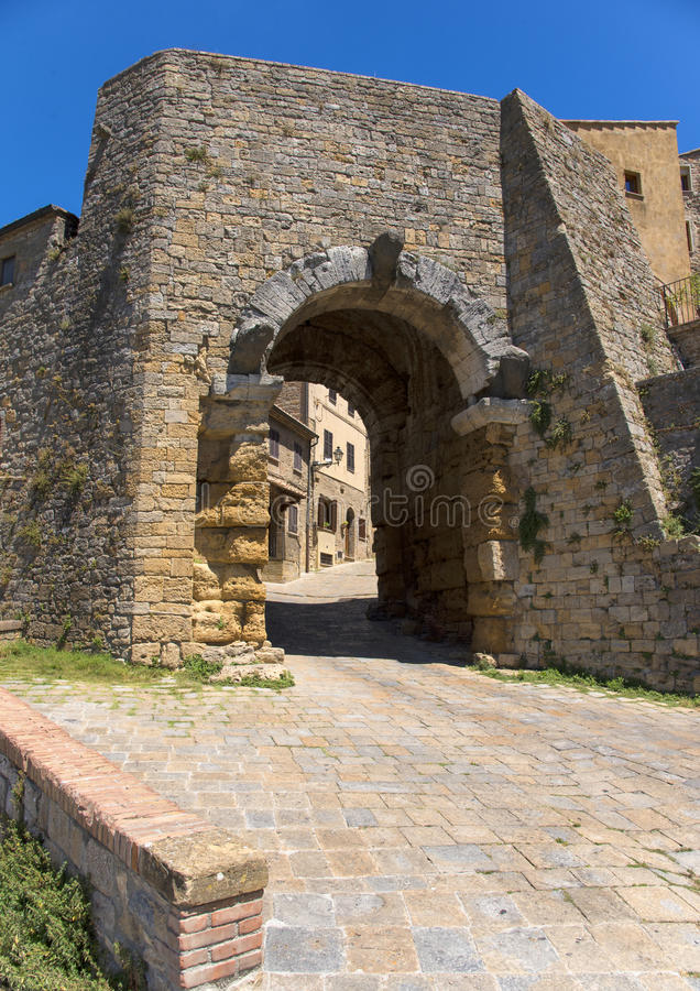 Porta all` Arco, one of city`s gateways, is the most famous Etruscan architectural monument in Volterra. Italy stock images