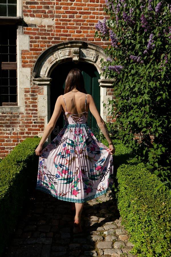 Porta antica posteriore della parete della ragazza, Groot Begijnhof, Lovanio, Belgio fotografie stock