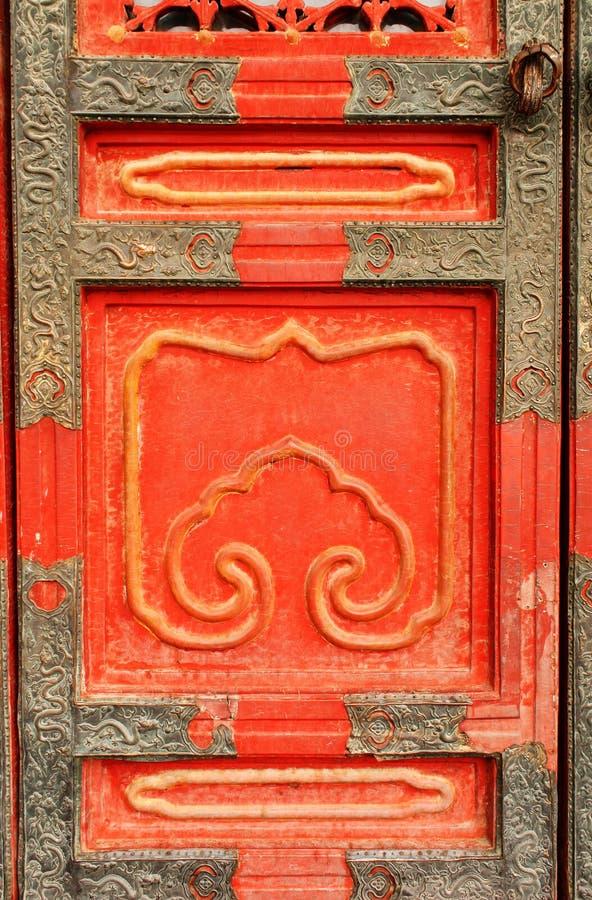 Porta antiga na Cidade Proibida, Pequim, China imagem de stock