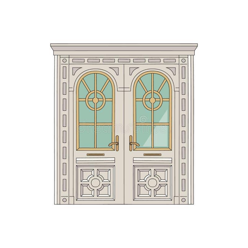 Porta antiga ou a entrada à ilustração do vetor do esboço do palácio ou da residência ilustração royalty free