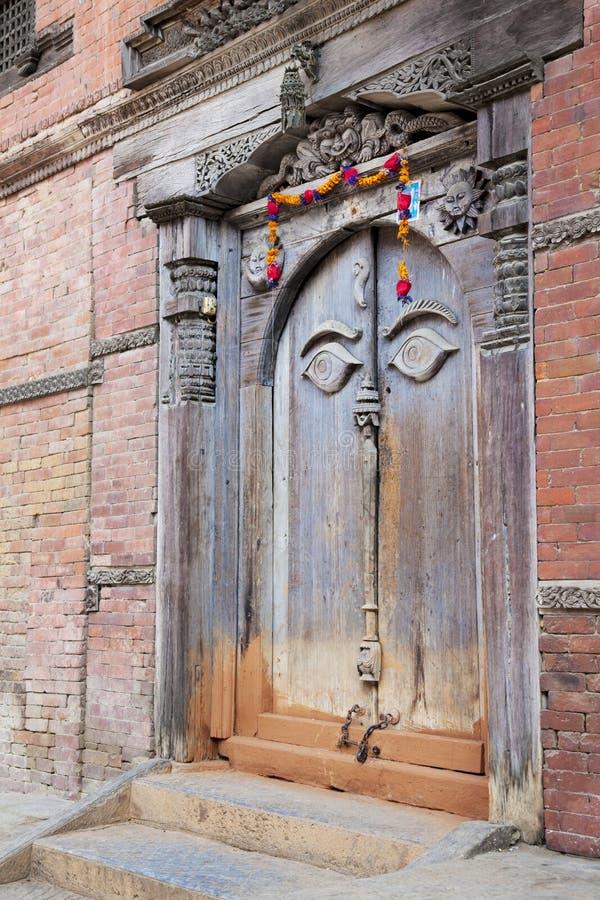 Porta antiga, Royal Palace, Kathmandu, Nepal foto de stock