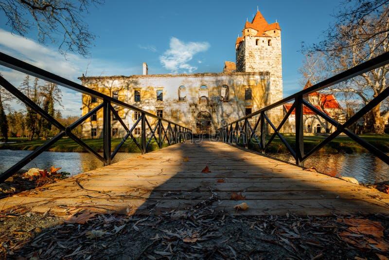 Porta ao parque velho e castelo Pottendorf em Áustria fotos de stock
