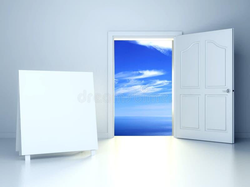 porta aperta 3d nella stanza vuota con il blocco per grafici vuoto illustrazione vettoriale