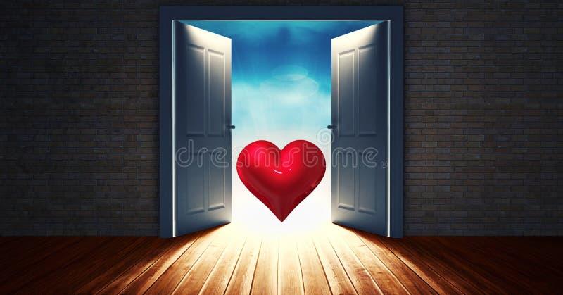 Porta aperta al cielo con forma rossa del cuore royalty illustrazione gratis