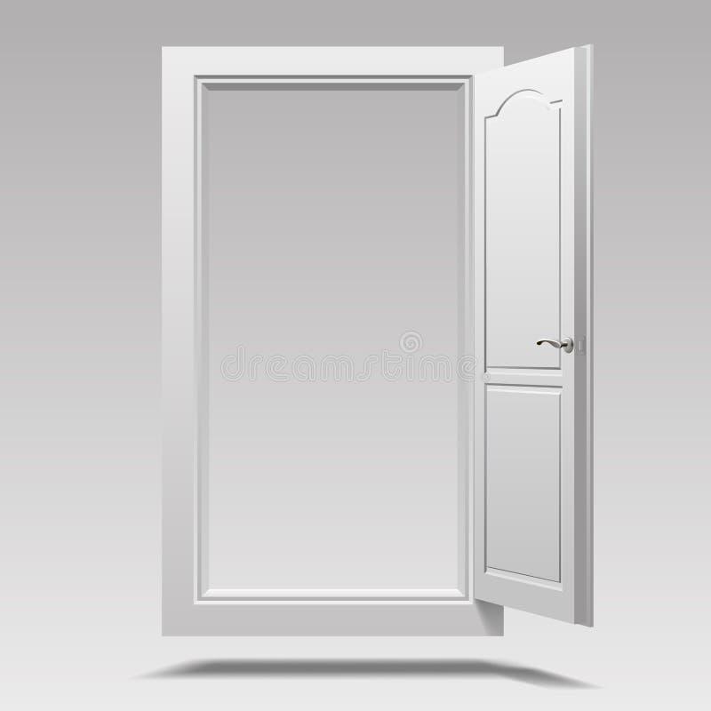 Porta aperta bianca che appende nell'aria illustrazione di stock