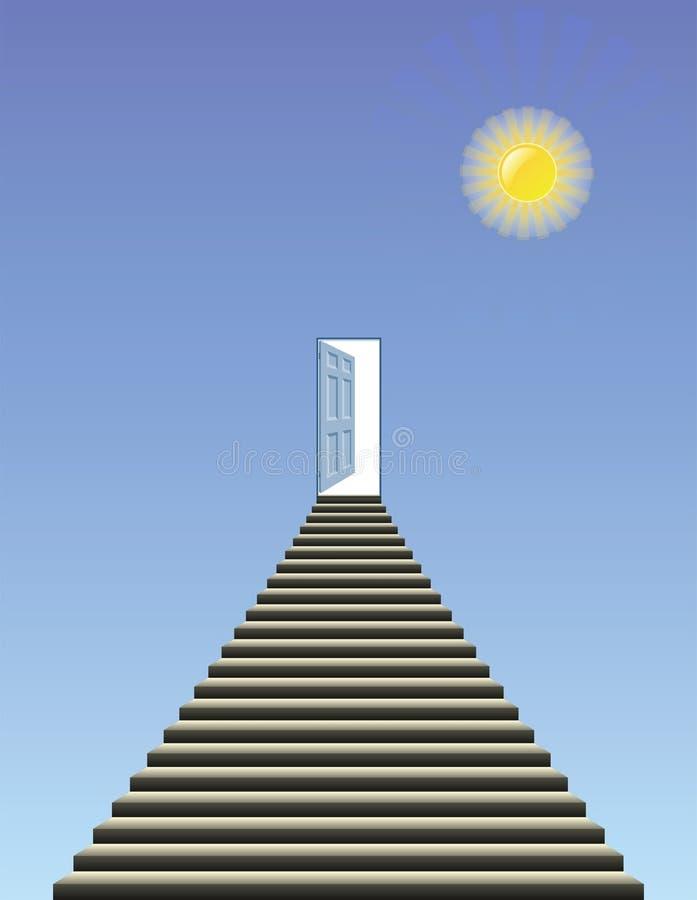 Porta aperta in cielo illustrazione vettoriale
