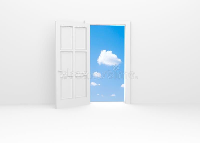 Porta aperta a cielo blu. illustrazione di stock