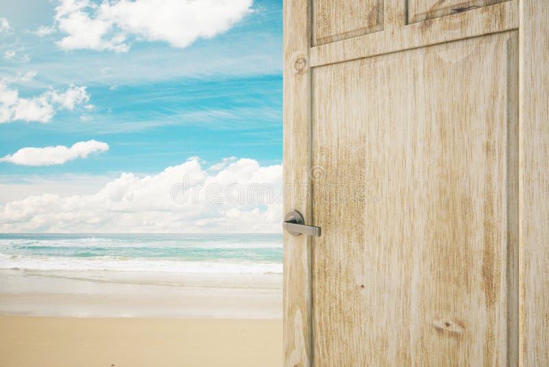 Porta aperta con la vista della spiaggia illustrazione vettoriale
