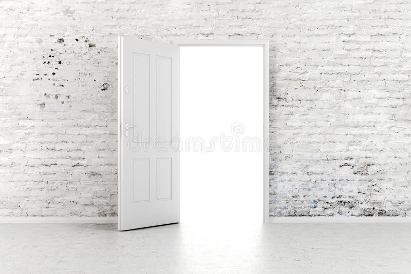 porta aperta 3d in un muro di mattoni d'annata illustrazione di stock