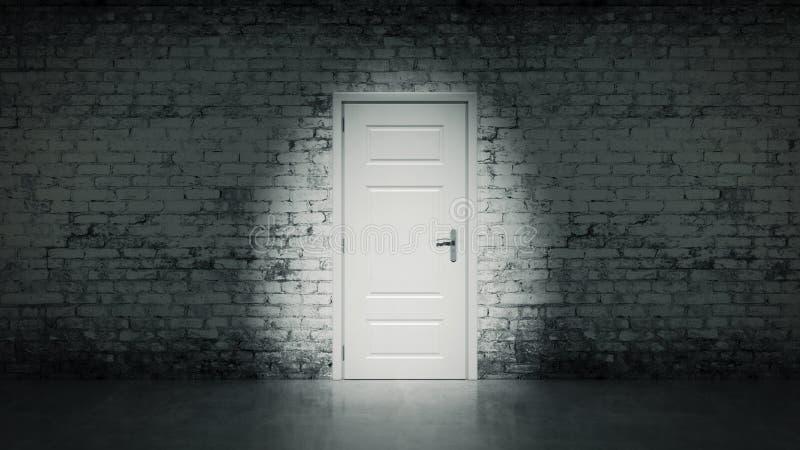 porta aperta 3d in un muro di mattoni d'annata bianco royalty illustrazione gratis