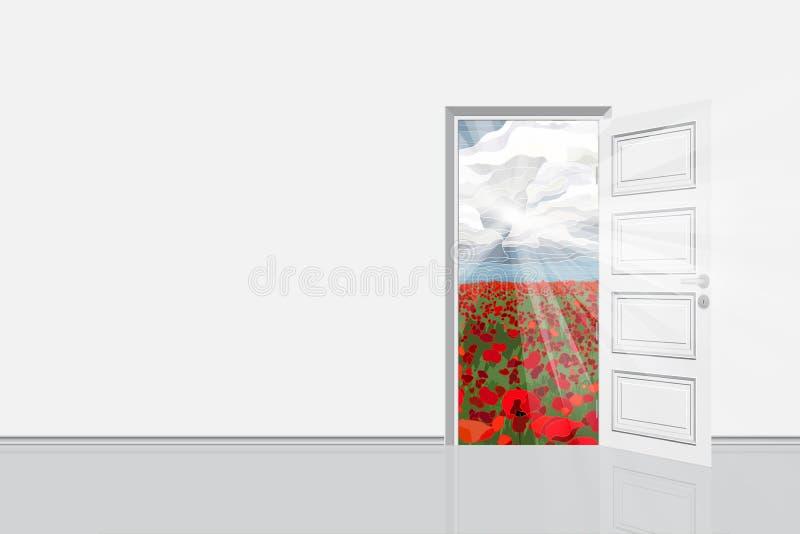 Porta aperta dalla stanza all'illustrazione luminosa di vettore del campo illustrazione di stock