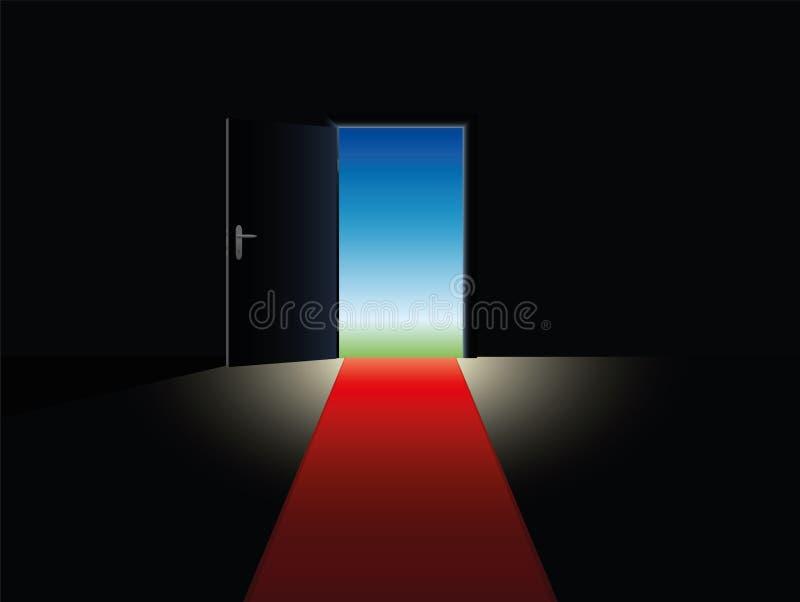 Porta aperta del tappeto rosso di libertà illustrazione di stock