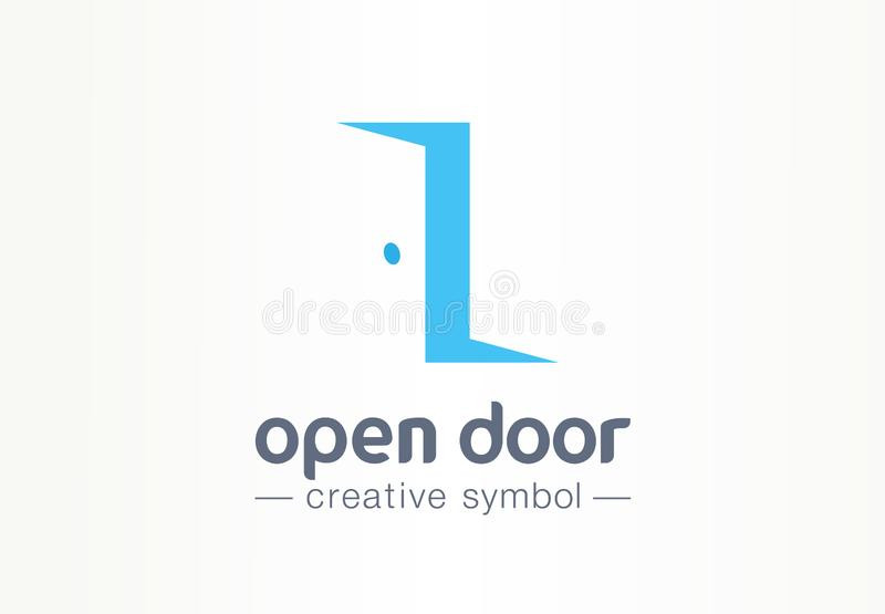 Porta aperta, dentro e fuori concetto creativo di simbolo Entri, esca, logo di affari dell'estratto dell'agenzia immobiliare Mobi illustrazione di stock
