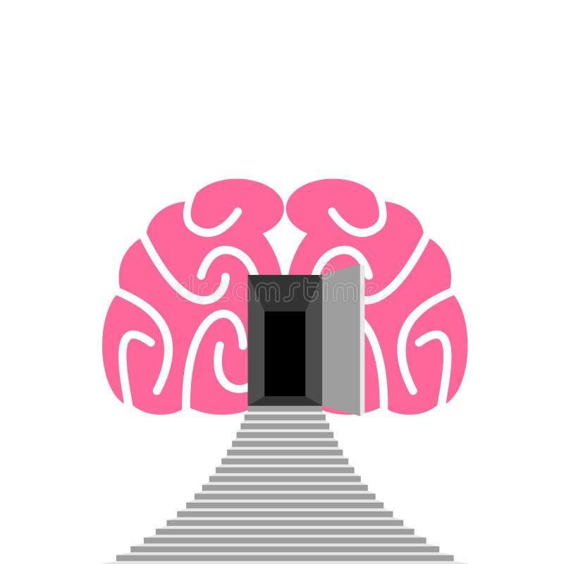 Porta aperta e punto di cervello umano Entrata in subcosciente illustrazione di stock