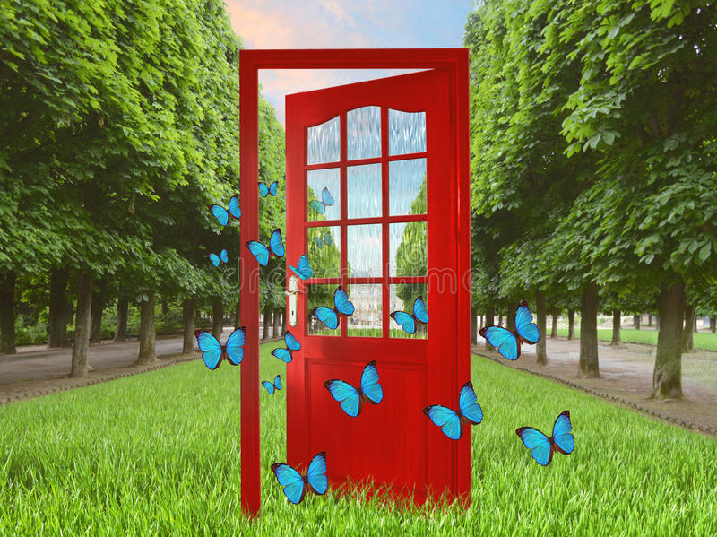 Porta aperta nelle farfalle verdi di volo e del giardino immagine stock libera da diritti