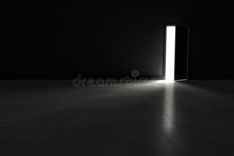 Porta aperta a stanza scura con luce intensa che splende dentro Fondo illustrazione di stock